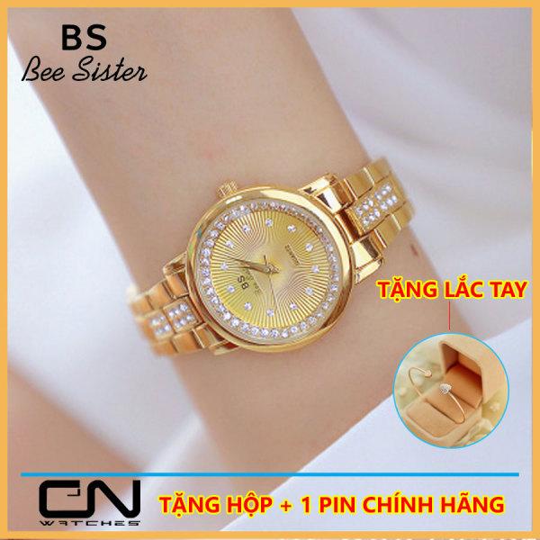 Đồng hồ nữ Hàn Quốc Bs  Bee Sister 1592 chính hãng - dây kim loại mặt đính đá size 28mm  - Đồng hồ nữ cao cấp thời trang giá rẻ bán chạy