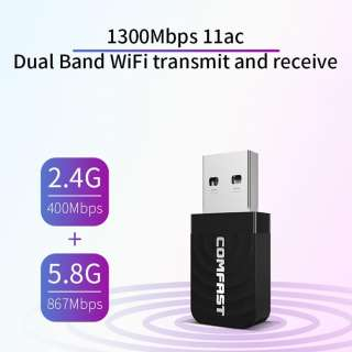 Comfast Wifi USB 1300Mbps Bộ chuyển đổi Wifi 802.11 B / G / N