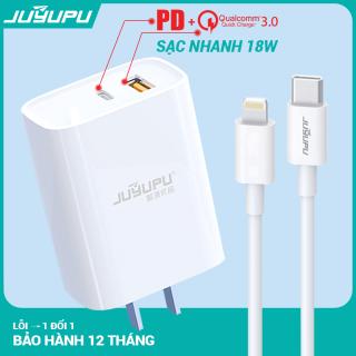 Sạc nhanh iPhone cao cấp gồm cốc PD QC3.0 18W và dây cáp chuôi iPhone bộ sạc chất lượng chính hãng JUYUPU U01C FC272 còn dành cho Samsung OPPO VIVO HUAWEI XIAOMI củ sạc nhanh thumbnail