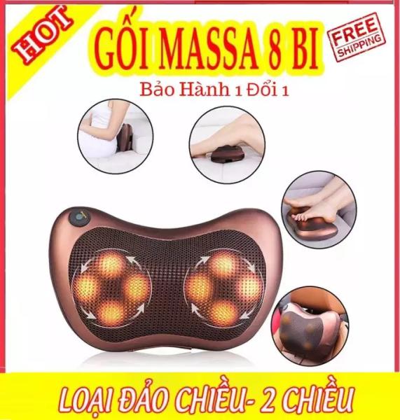 Gối massage hồng ngoại 8 bi thiết kế gọn nhẹ, dễ sử dụng - Tặng Cáp cho Ôto - Bảo hành 1 đổi 1
