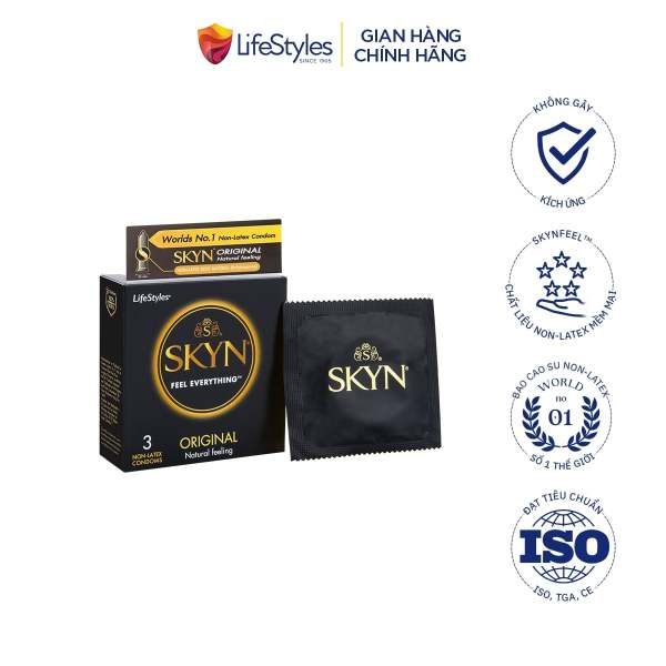 Bao cao su LifeStyles SKYN Original Non-latex cao cấp không mùi cao su không gây dị ứng 3 bao cao cấp