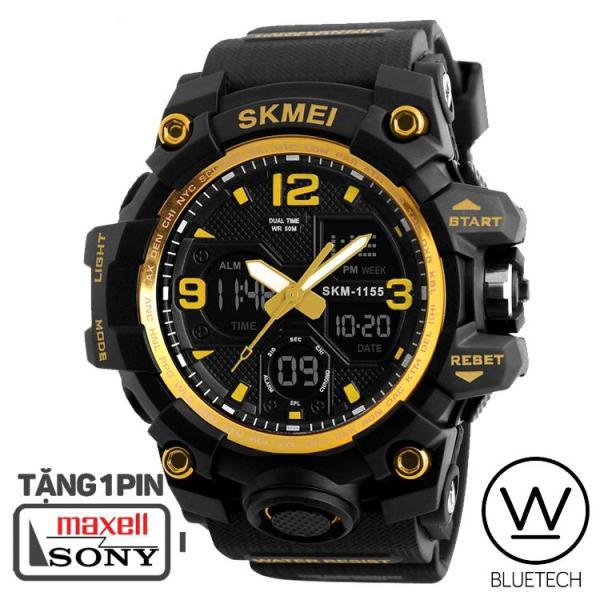 Đồng hồ nam SKMEI 1155B Dây Nhựa PU - Viền Vàng bán chạy