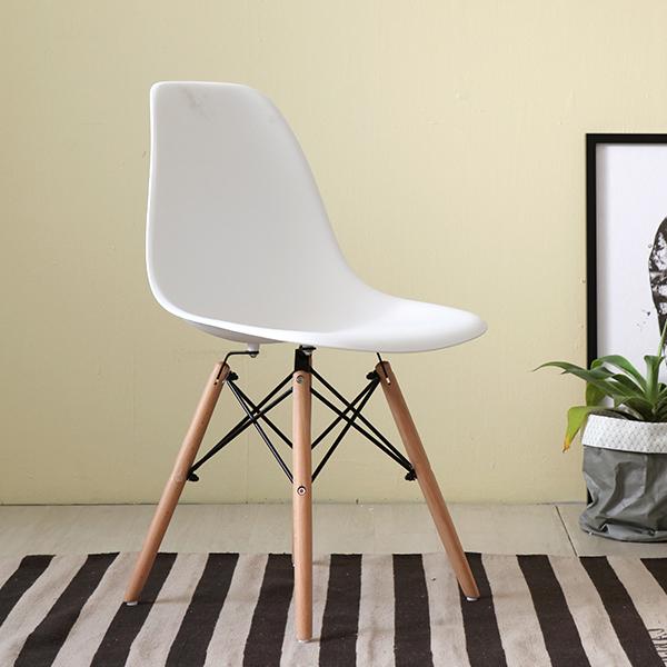 Ghế Dựa Lưng Nhựa Eames Màu Trắng Chân Gỗ Thời Trang giá rẻ