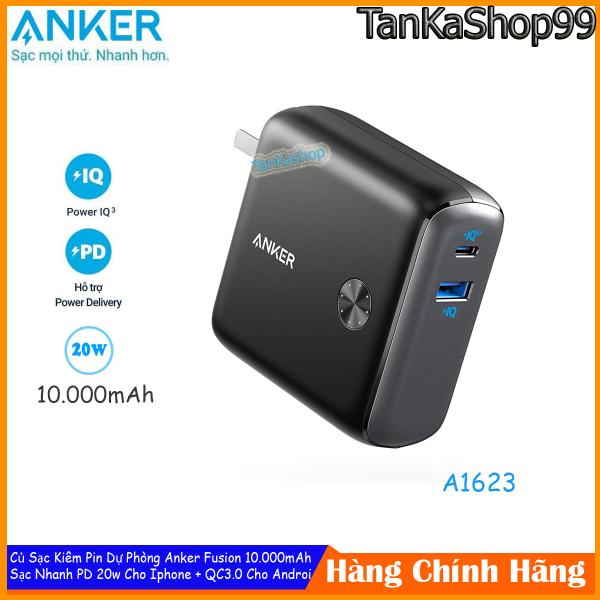 Củ Sạc Kiêm Pin Dự Phòng Anker Fusion 10.000mAh - A1623, Sạc Nhanh PD 20W Cho Iphone, QC 3.0 Cho Androi
