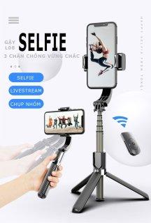 [ LỖI 1 ĐỔI 1 ] Gậy Chống Rung Gimbal L08 - Gậy Chụp Hình Selfie - Quay Phim - Livetrym - Chống Rung Kiêm Tripod Đa Năng 2IN1 - Bluetooth Không Dây - Xoay 360 Độ - Tripod 3 Chân Chắc Chắn, Pin Siêu Bền. thumbnail