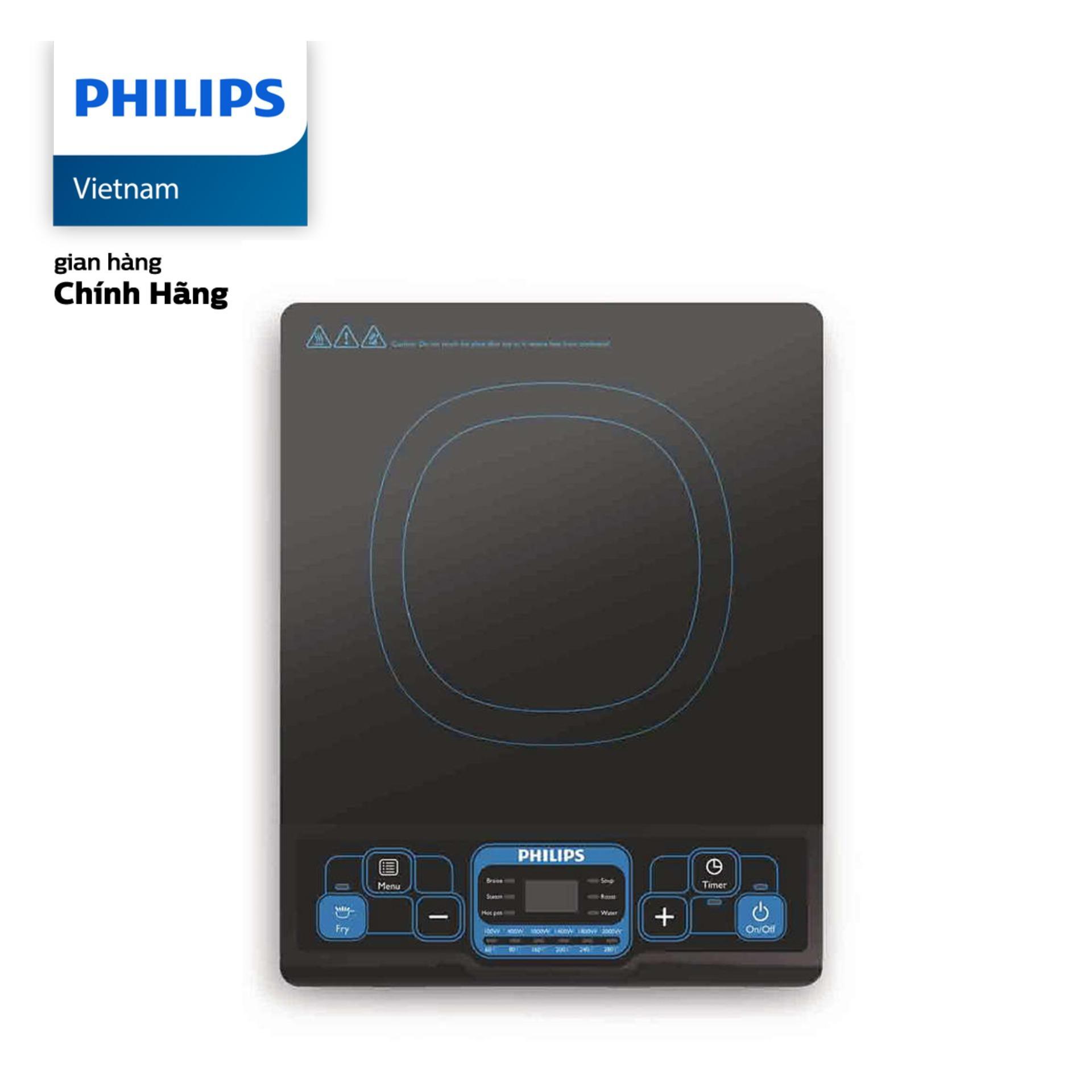 Bếp Điện Từ Philips HD4921 (Đen), Công Suất 2000W - Tặng Kèm Nồi Lẩu Inox-Bảo Hành 24 Tháng - Hàng Phân Phối Chính Hãng Đang Trong Dịp Khuyến Mãi