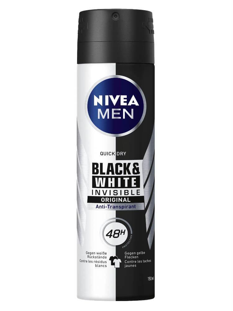 Xịt khử mùi toàn thân chao nam Nivea Black & White Invisible original quick dry 150ml nhập khẩu