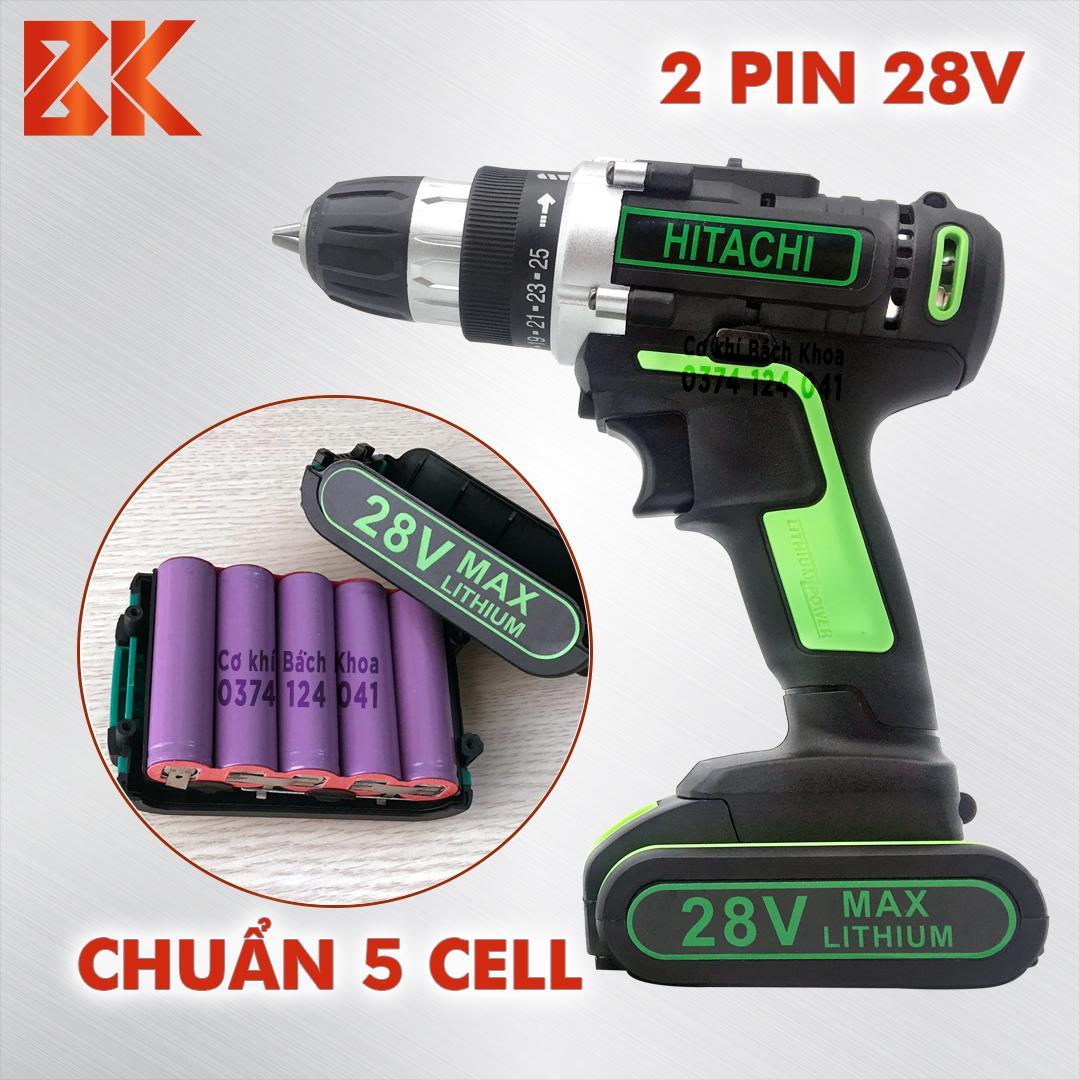 [TẶNG MŨI KHOAN] Máy Khoan Pin Bắt Vít Cầm Tay HITACHI 28V +++ ( Pin 5 CELL )