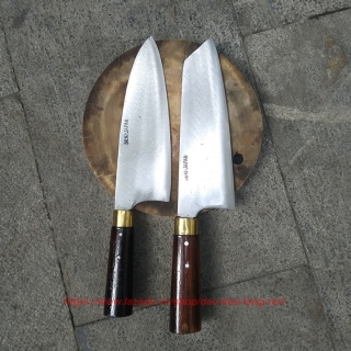 Bộ 2 dao nhà bếp đa năng thép nhíp cán mun khâu đồng cao cấp thumbnail