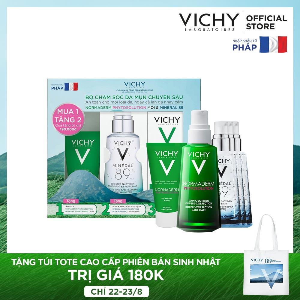 Bộ chăm sóc da chuyên sâu giúp giảm dầu giảm mụn, phục hồi và nuôi dưỡng da Vichy Normaderm Phytosolution Double-Correction tốt nhất