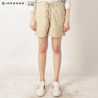 GIORDANO Quần Shorts Linen Nữ Cotton mid rise shorts 05408208 thumbnail