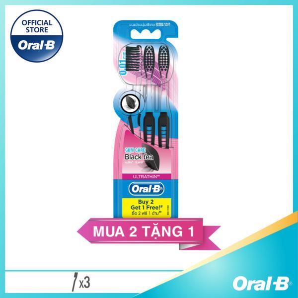 [Tặng 3 Ariel 360g đơn 159k] Vỉ 3 Bàn Chải Đánh Răng Oral-B Tinh chất Trà đen Ultrathin Blacktea Toothbrush [28-31.05]