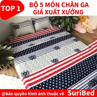 chăn ga FREESHIP bộ chăn ga 5 món họa tiết lá cờ CHANGAST41 set bao gồm 1 chăn 1 ga 2 gối 1 gối ôm cao cấp thumbnail