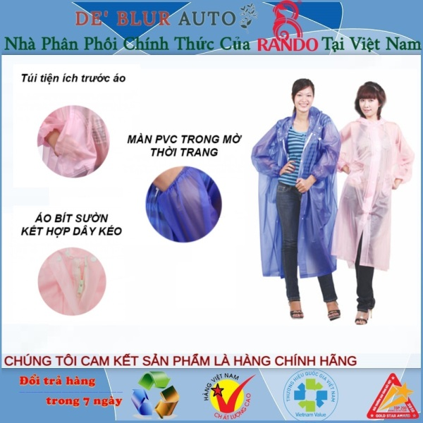 Giá bán [MUA NHIỀU] Áo Mưa Rando Poncho Dây Kéo Trong Màu