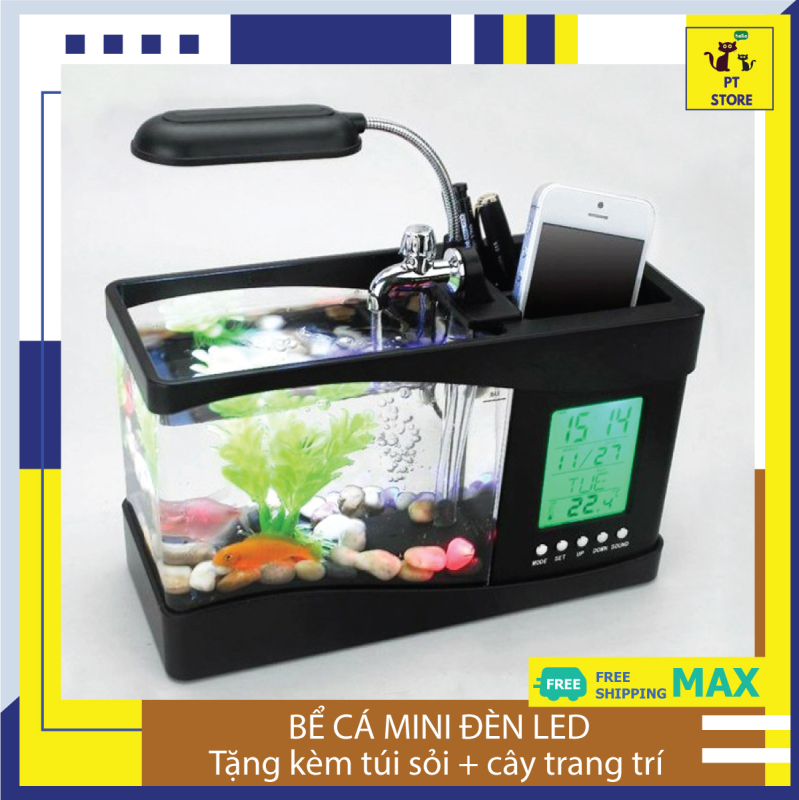Bể cá mini để bàn có đèn LED hiển thị thứ ngày tháng, nhiệt độ môi trường, âm thanh PT Store