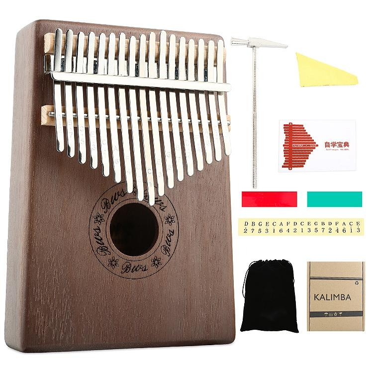 Kalimba 17 Key Thumb Piano Wood Mahogany Calimba Body Musical Instruments Mbira Kalimba with Learning Book Tune Hammer