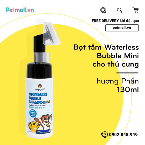 Bọt tắm Waterless Bubble Mini cho thú cưng 130ml - hương Phấn