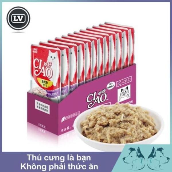 Sốt Pate cho mèo CiAo Gói 60g - thức ăn cho chó mèo Phụ kiện Long Vũ