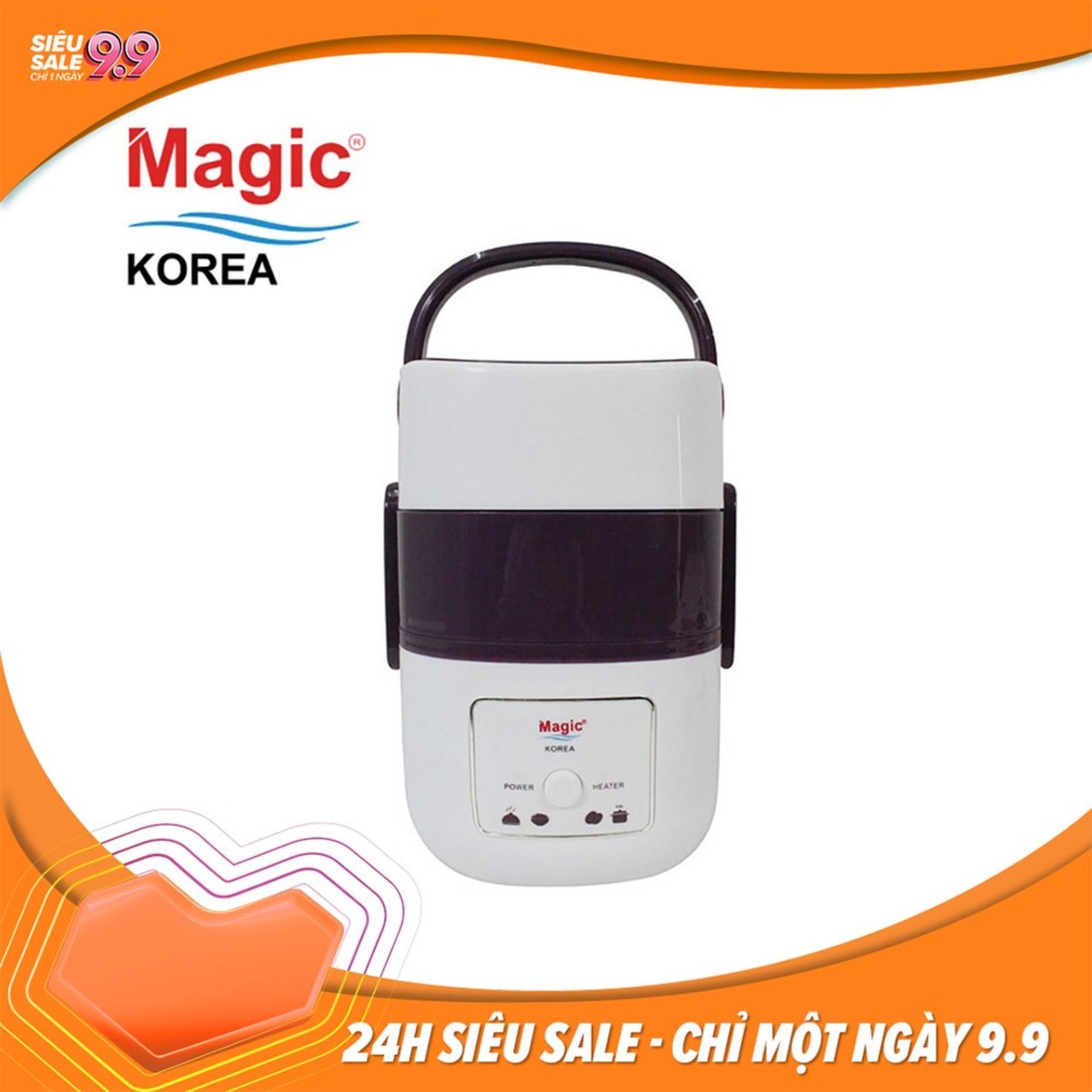Hộp nấu và hâm nóng cơm lồng Inox 03 tầng Magic A06 (Trắng)