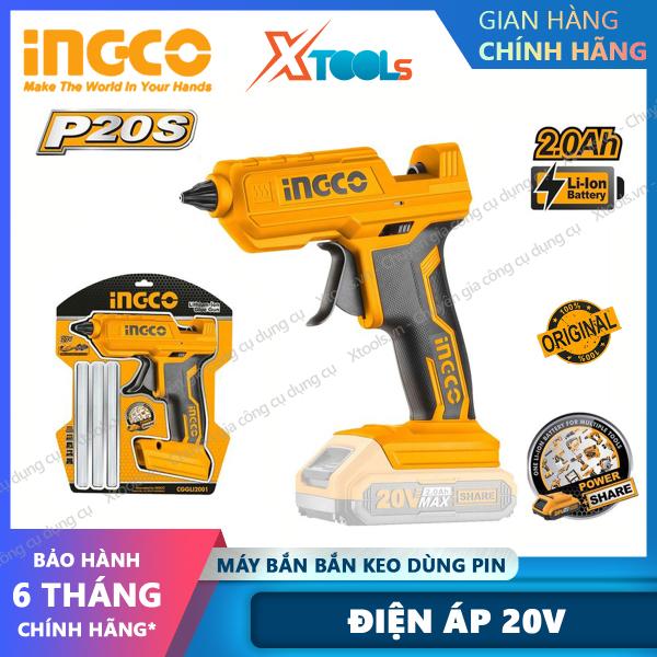 [HCM]Súng bắn keo nến INGCO CGGLI200 pin Lithium 20V.Máy bắn keo cầm tay mini tặng kèm theo 2 cây keo 11.2mm tạo keo 13-18g/p [XTOOLs][XSAFE]