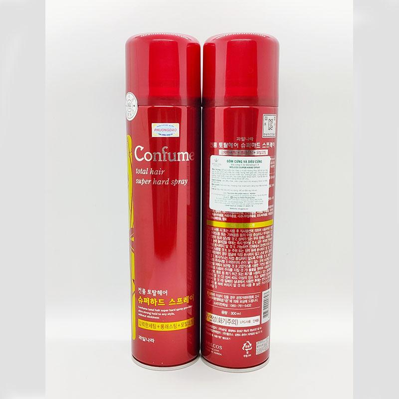 Gôm vuốt tóc siêu cứng Confume Super Hard Spray Hàn Quốc 300g nhập khẩu