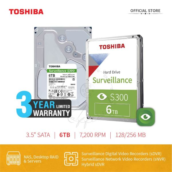 Bảng giá Ổ cứng Camera Toshiba S300 6TB Surveillance Chính Hãng Phong Vũ