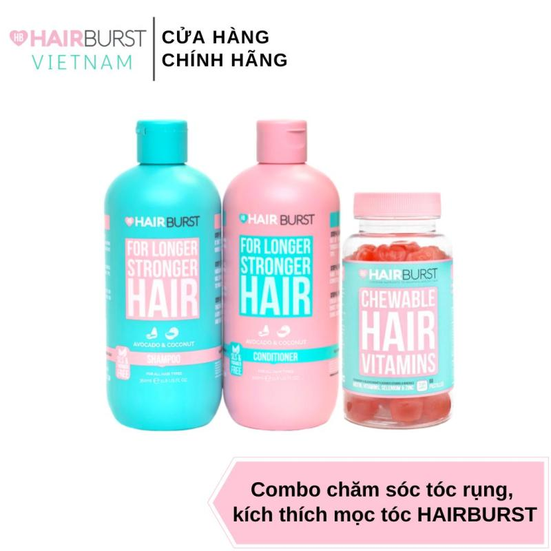 Bộ chăm sóc tóc HAIRBURST kích thích tóc mọc dài hơn, chắc khỏe hơn 700ml và kẹo dẻo