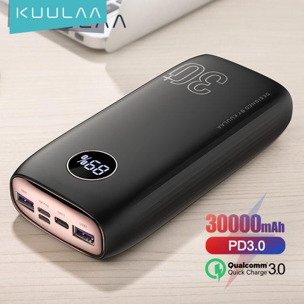 KUULAA Power Bank pin sạc dự phòng 30000mAh PD Sạc nhanh + Sạc nhanh 3.0 Pin ngoài PowerBank USB Type C PD Fast Charging + Quick Charge 3.0 PowerBank sạc dư phòng 30000 mAh External Battery For Xiaomi iPhone