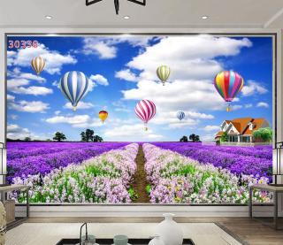 Tranh dán tường 3D Phòng Khách Vườn Hoa Lavender, 338( Đã tích hợp sẵn keo) thumbnail