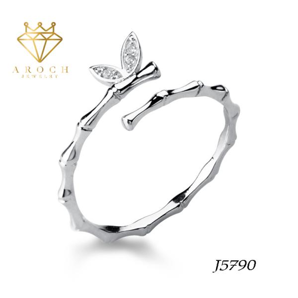 Nhẫn nữ hở freesize,hợp với mọi kích cỡ ngón tay,bạc Ý s925 cánh bướm khí chất nhỏ tươi J5790- AROCH Jewelry