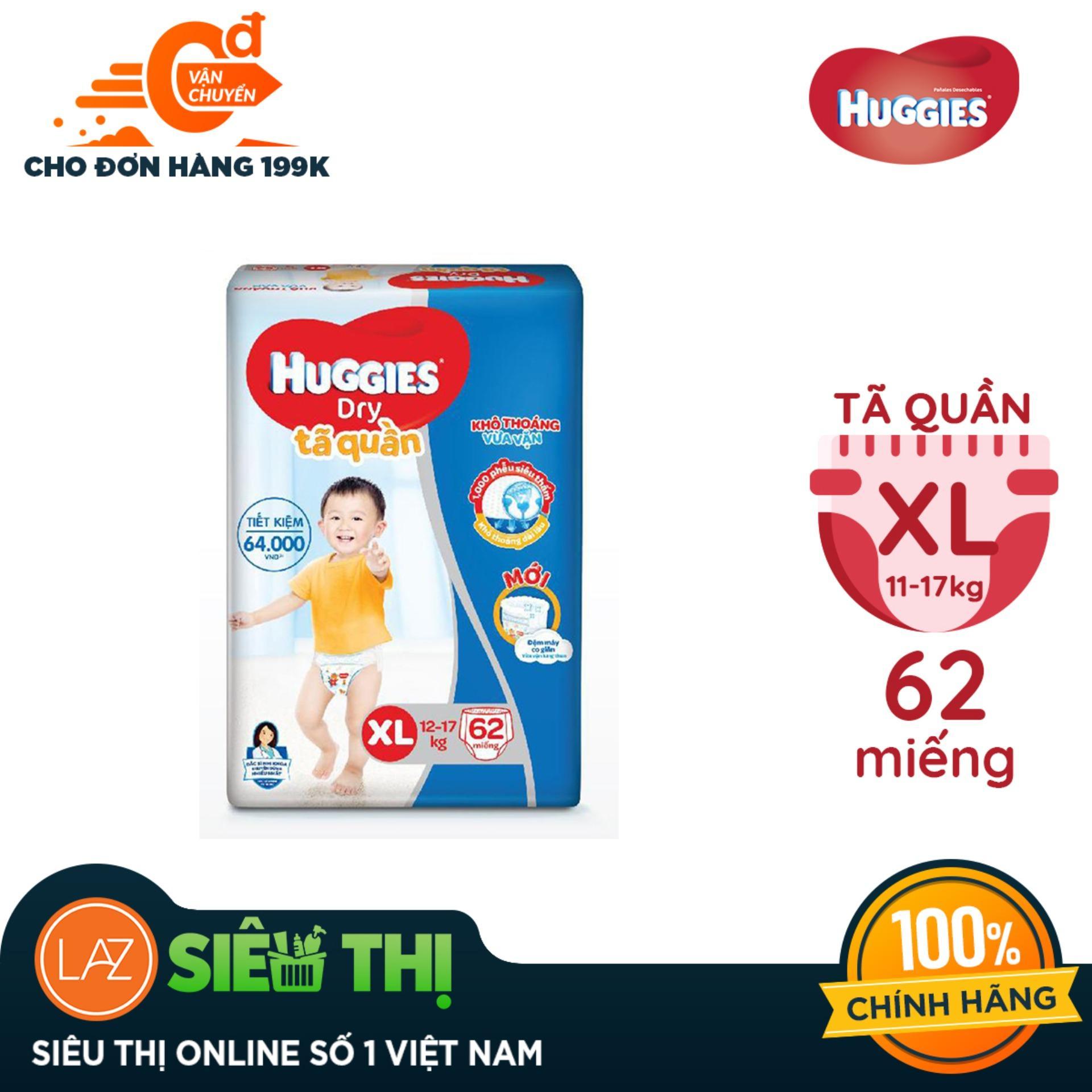 Tã quần Huggies Super Jumbo XL62 (Đệm mây co giãn) - Gói 62 miếng (Cho bé 12kg - 17kg) Nhật Bản