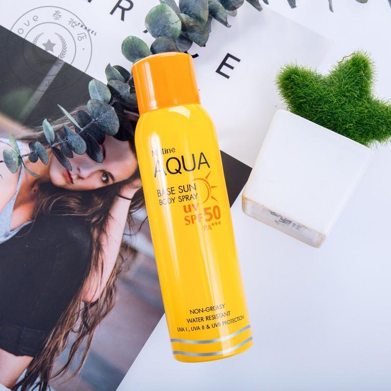 Chai xịt chống nắng và làm trắng da tức thì không trôi nước-xịt chống nắng toàn thân chống trôi nước Aqua Base Sun Body Spray nhập khẩu