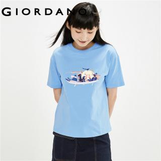 Áo Thun Tay Ngắn T-shirt Nữ GIORDANO Women 100% cotton Cổ Tròn In chủ đề Lãng mạn form Rộng 99391035 thumbnail