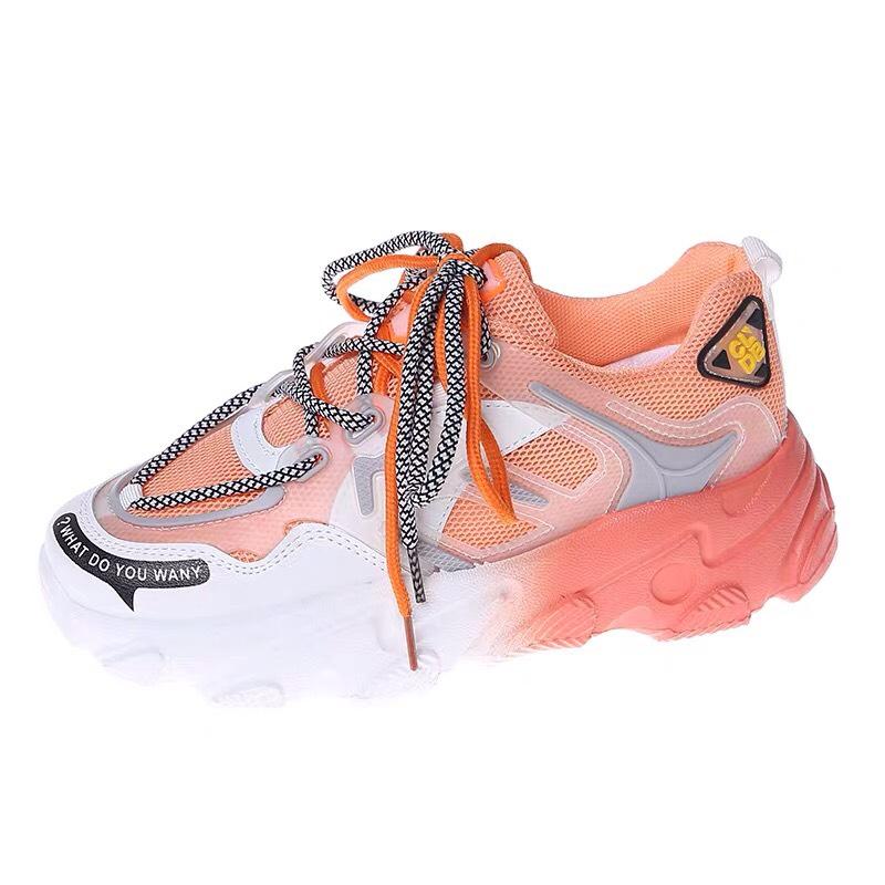 Giày thể thao nữ CLDB pha màu mới có 3 màu hồng, cam & xanh, chất da phối lưới cao cấp, độn đế cao, phong cách Hàn Quốc cá tính, trẻ trung, sử dụng đi học, đi chơi, đi làm, là mẫu giày nữ sneaker đẹp, giá rẻ, hot 2020