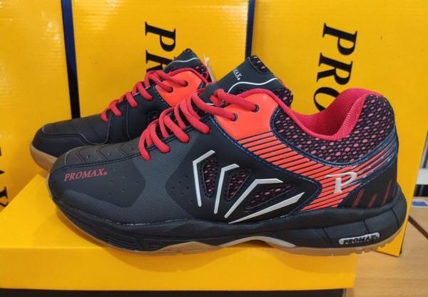 Giày cầu lông Promax PR-2001 màu đen, giày đánh cầu lông nam nữ Promax Pr 2001, giày thể thao Promax Pr 2001 chuyên dụng cầu lông, bóng chuyền, bóng bàn, bóng ném đế cao su tổng hợp cao cấp, da PU bền đẹp chuyên dụng