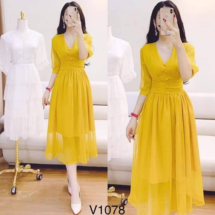 Đầm Váy Nút Bọc Phong Cách Cổ Điển Thời Trang Nữ PANOS