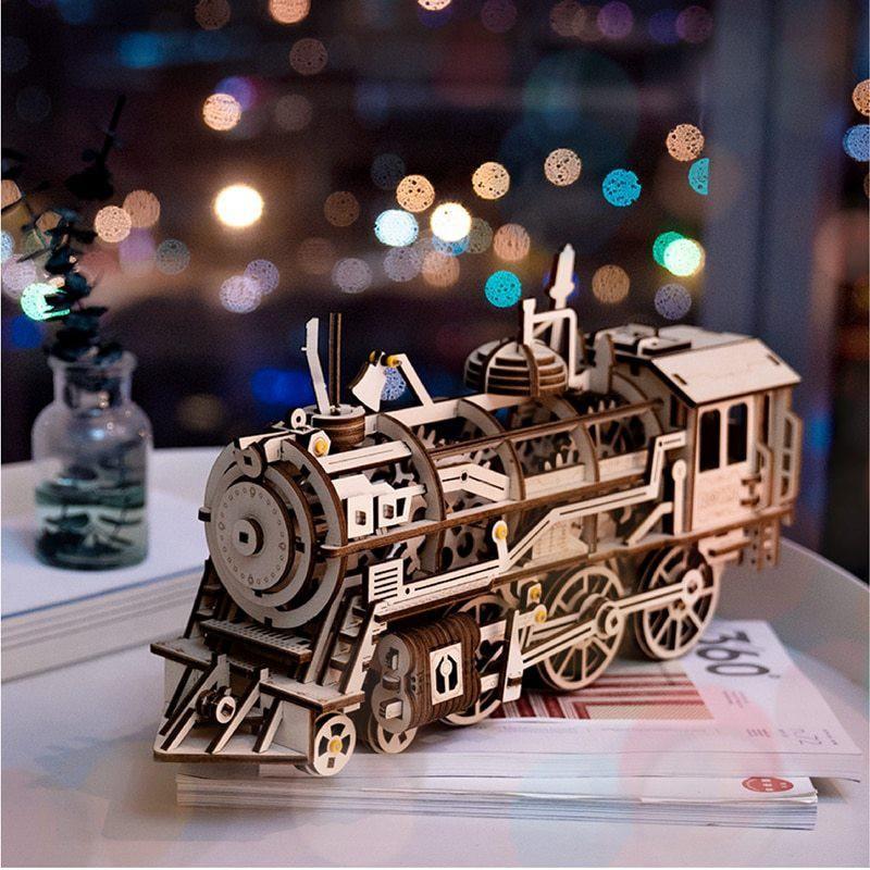 Mã Khuyến Mãi Mô Hình Lắp Ráp Gỗ 3D  (ĐC-01)  Cơ động Học Đầu Máy (PT-01) Xe Lửa - Locomotive Robotime