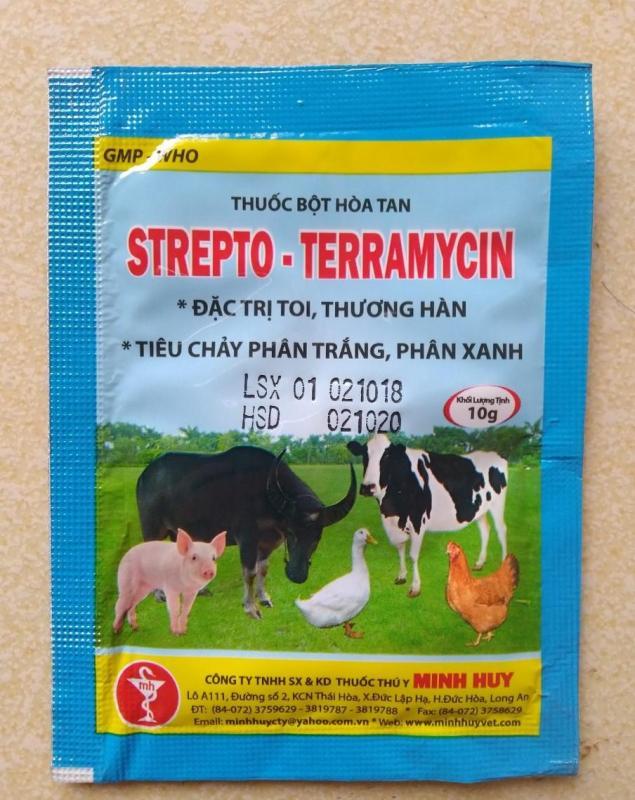 Miễn phí HCM>129k  STREPTO TERRAMYCIN  Thuốc đặc trị bệnh tiêu chảy gà (gói 10gr) / phòng bệnh phân trắng / trị bệnh phân xanh / đi ỉa gà đá