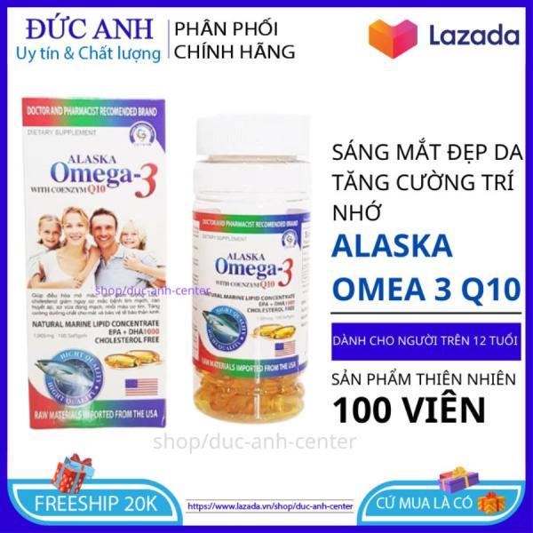 Dầu Cá Alaska Omega 3 With Coenzym Q10 (hộp 100 viên) sáng mắt, khỏe tim , bổ não giá rẻ
