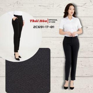 Quần tây nữ Thái Hoà 2C691-17-01, quần âu nữ công sở 9 tấc, màu đen, chất liệu mềm ,trơn thumbnail