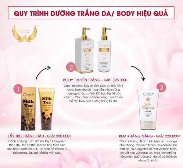 Trọn Bộ 3 Sản Phẩm Dưỡng Trắng Da Body  Queenie Skin - Cam kết hiệu quả sau 7 ngày sử dụng