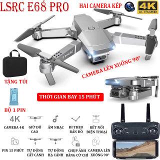 (BỘ 2 PIN + TẶNG TÚI ĐƯNG) Flycam, Flycam điều khiển Giá Rẻ, Flycam mini E68 PRO Camera 4K Hai camera kép , thời gian bay 15 phút, Động cơ mạnh mẽ camera chống rung quang học camera điều chỉnh lên xuống 90° - BẢO HÀNH 3 THÁNG