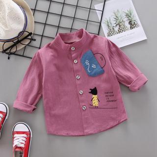 Áo thun bé trai mùa thu Áo thun tay dài in hình mặt túi hoạt hình áo trẻ em áo cánh thường ngày