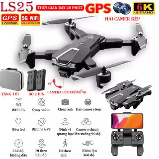 TẶNG TÚI ĐỰNG - Flycam giá rẻ, Flycam mini LS25 camera 6K hai camera kép, định vị GPS WIFI 5G, chống rung quang học, thời gian bay 20p camera lên xuống 90 , chế độ nhào lộn 360 , truyền hình ảnh trực tiếp về điện thoạị thumbnail
