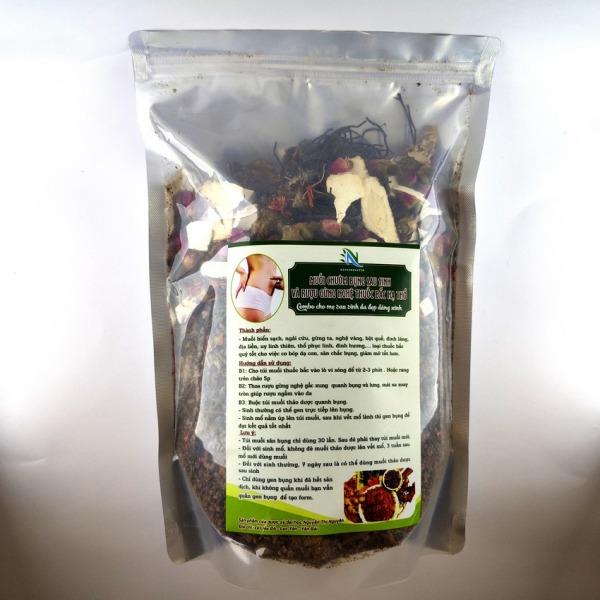 Muối Chườm Bụng Sau Sinh - Tan Mỡ Bụng, Làm mờ vết rạn, Chống tắc sản dịch - Mexu Herbal nhập khẩu