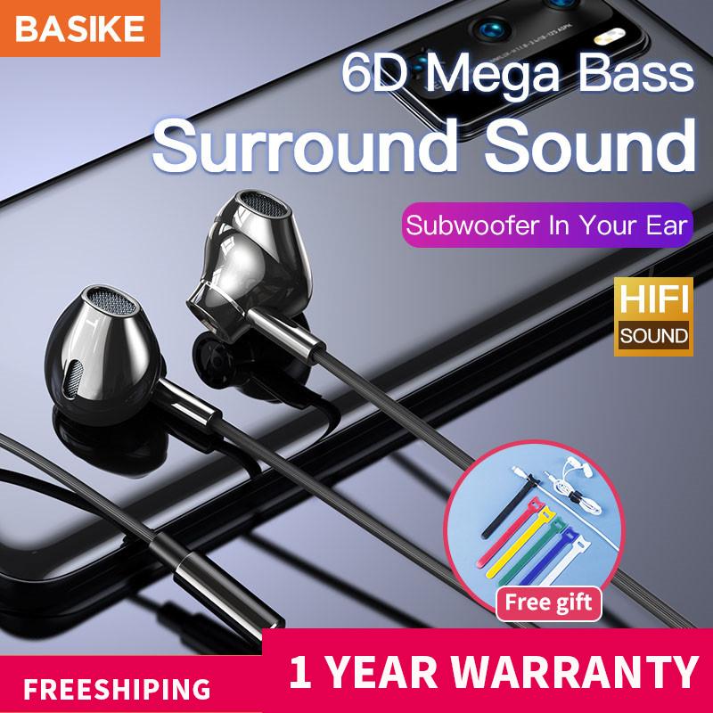 BASIKE Âm thanh vòm Bass Tai nghe chơi game Tai nghe trong tai Tai nghe có dây Tai nghe có mic và loại bỏ tiếng ồn Tai nghe có mic cho điện thoại Máy tính bảng(MT36)