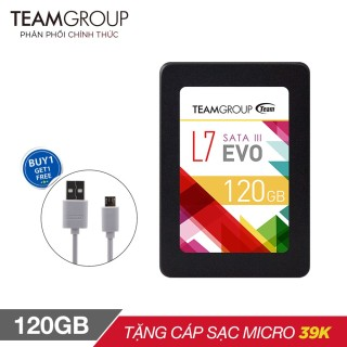 Ổ cứng SSD L7 120GB Team Group EVO Sata III 2.5 inch (chíp Marvell controller của Mỹ) + Cáp micro USB Romoss CB05 tròn dài 1m - Hãng phân phối chính thức thumbnail