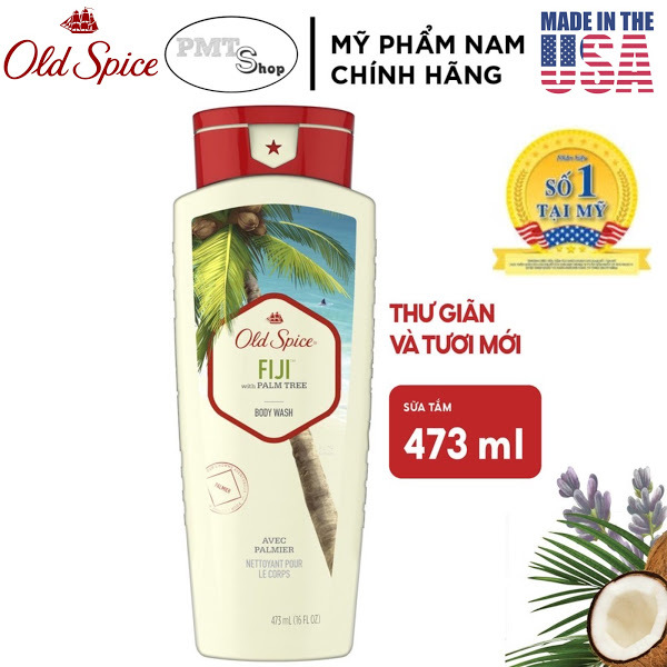 [USA] Sữa tắm nam Gel Old Spice FiJi with Palm Tree 473ml Fresher Collection - Mỹ