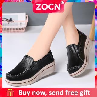 Giày Đế Xuồng ZOCN Cho Nữ Giày Đế Xuồng Thời Trang Cho Nữ Giày Cao Gót Màu Đen Hàn Quốc Giày Nữ Ngoại Cỡ Thường Ngày Thời Trang 35-42