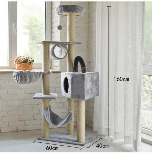 HCM  - Trụ mèo cỡ lớn 1,6m - 4 tầng kèm võng - nhà mèo màu ngẫu nhiên ( 4711413) trụ cho mèo chơi đa chức năng /cat tree-HP10941TC